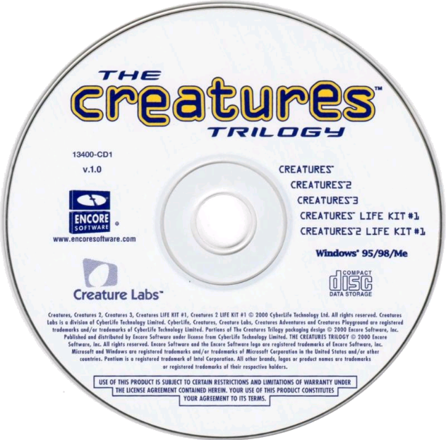Creatures Trilogy Disc Art (Click to enlarge)