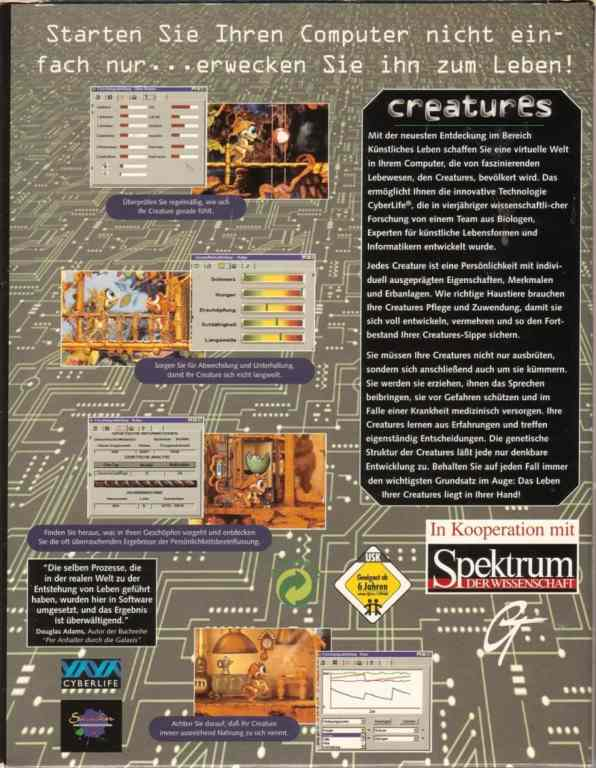 Creatures 1 German Back Cover (Click to enlarge)