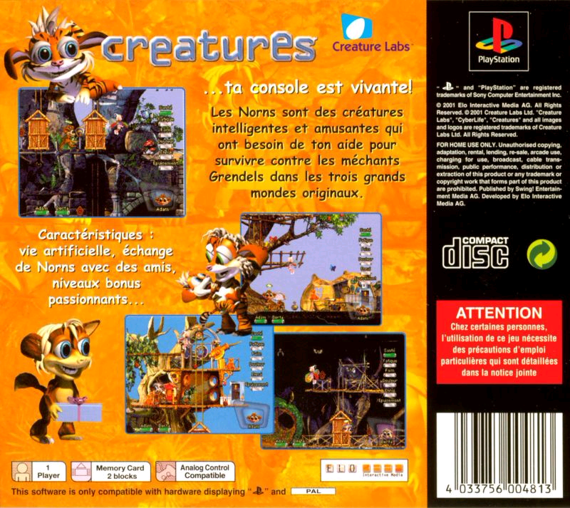 Creatures PS1 French Box Back (Click to enlarge)