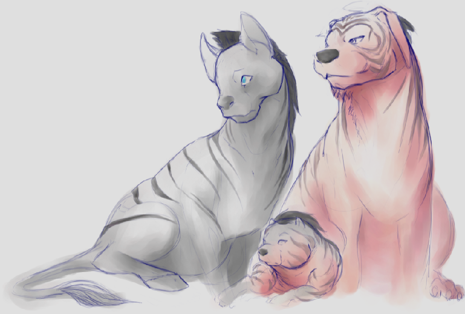 Bengal and Zebra Family[WIP] (Click to enlarge)