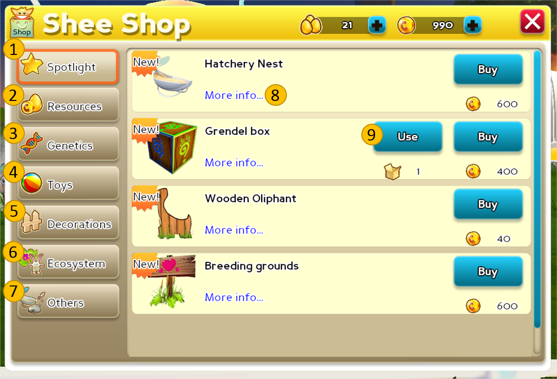 Creatures Online In-Game Shop